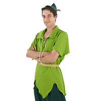 Men's Classic PETER PAN Lime Green Tunic Hat Elf Costume Adult
