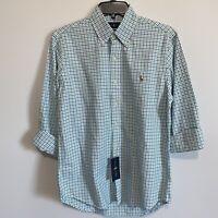 Polo Ralph Lauren Mens Button Down Shirt Small L/S Green Blue Oxford Classic Fit
