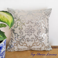 43*43cm Home Decor Silver Sequined Linen Cushion Cover
