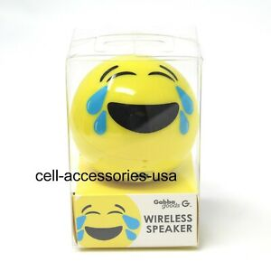New Gabba Goods Bluetooth Round Wireless Speaker with 3.5mm Port - Lauging Emoji