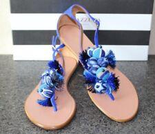 NIB AQUAZZURA TROPICANA BLUE SUEDE TASSEL T-STRAP THONG SANDALS FLATS Shoes 36