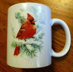 Holiday Mug Winter Scene Coffee Cup 8 Oz Cardinal Bird On Pine Tree Branch Snow Ebay