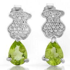 Ohrringe/Ohrstecker Jill, 925er Silber, 0,65 Kt. echter Peridot/Diamant