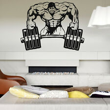 Wall Decal Room Sticker Gym Weights Bodybuilding Muscle Man Crossfit  bo2969