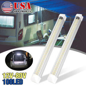 4pcs 108 LED Interior Light Strip Bar Car Van Bus Caravan ON/OFF Switch 12V