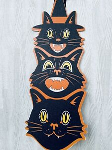 """Black Cat Halloween Sign Wall Hanging 20"""" L Vintage Beistle Look Glitter MDF New"""