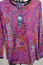 LAUREN RALPH LAUREN Multicolor Velvet trim Paisley Tunic Top Sz.XS NWT $109