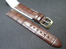 Hirsch Bionic hand folded aligator strap brown size M lug size 18 mm reduced