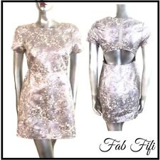 Motel Cut Out Back Dress Silver Lurex  Lilac Shimmer Festival Metallic Small 6 8