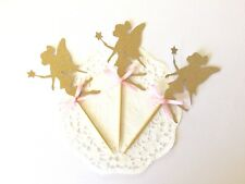 10 Gold Glitter FAIRY Cupcake Toppers. Birthday fairy party.