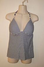 TANKINI Top White/Blue/Coral Striped Padded Bra Sz S-M  *EXCELLENT COND.*