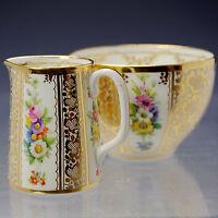 Hammersley Gilded & Handpainted fine porcelain tiny Individual Jug & Bowl  c1920