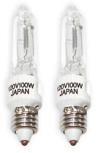 Mini-Candelabra JD120V100W 120V 100W E11 Halogen Light Bulb, Clear 2 Pcs
