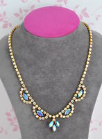 Vintage 1950's gold tone and aurora borealis crystals necklace- event/costume