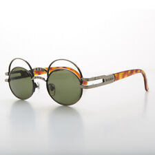 Futuristic Oval Sunglasses with Double Eyelid Gunmetal / Green Lens - Ace