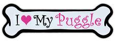 Pink Dog Bone Shaped Magnet - I Love My Puggle (Pug Beagle) - Cars