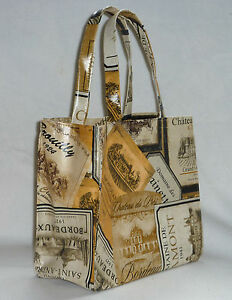 Handmade bonded cotton/vinyl small tote bag Lunch/party/Gift/Hobby- Wine Labels