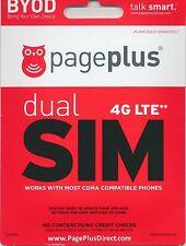 --> PAGE PLUS DUAL SIM CARD 4G LTE UNLIMITED VERIZON WIRELESS MICRO / MINI