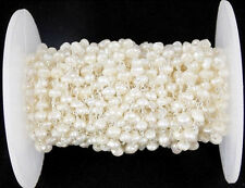 5 Feet Cultured Freshwater Pearl 3-4mm Rondelle Faceted 925 Silver Plated Beaded