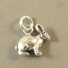 .925 Sterling Silver 3-D RABBIT CHARM NEW Bunny Toy Animal Pendant 925 AN119