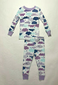 Planet Sleep Girls Lavender Blue Clouds Organic Cotton Pajamas