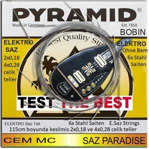 Pyramid String 2x 0,18 4X0,28 Elektro Saz saiten-  6x 115cm boyunda celik teller