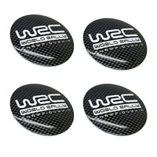 4PCS 56mm Carbon Fiber Black WRC Aluminum Wheel Center Hub Cap Emblems Stickers