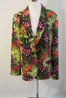 Chico's Jacket Blazer Women's Size 2 (Large) Floral Lined Long Sleeve Lined
