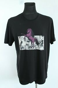 Mustang NEW Classic Black Short Sleeve Crew Neck Front Design Shirt Size L