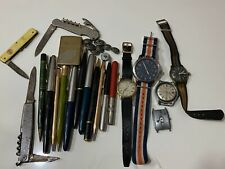 Vtg RARE Grandpas Junk Drawer Lot Collectible Pens Watches Pocket Knife Lighter