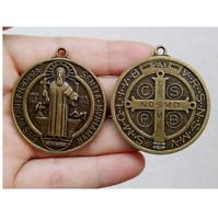 Saint Benedict St Exorcism Protection Medal Cross Catholic Bronze Pendant