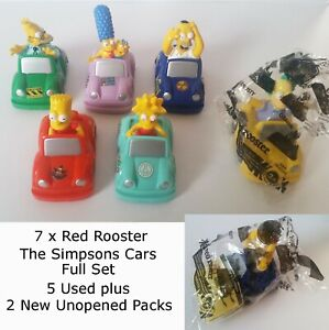 7 x RED ROOSTER The Simpsons 2003 - Pull Back Bounce Cars Full Set 6+New Homer