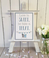 Personalised A4 sweet cart love is sweet so take a treat blue welly wedding sign