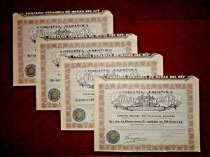 Minas del Rif,Share certificate 1946  Spain    VG+  x 4