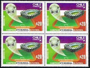 CHILE 1986 STAMP # 1175 MNH BLOCK OF FOUR SOCCER WC MEXICO 86'
