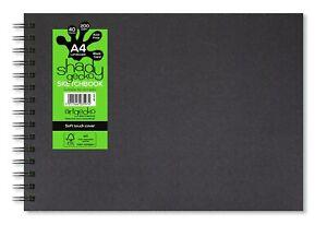 Artgecko Shady Gecko Wire-bound Black Card Sketchbook A4 (Portrait or Landscape)