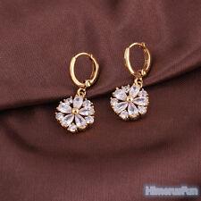 Fashion 18K Gold Plated Crystal Zircon Flower Ear Hook Dangle Earring Jewelry