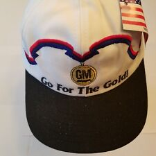 Gm Go for the Gold Hat Vintage Snapback made in Usa Olympics white red blue New