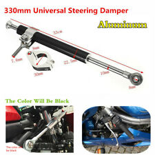 Black 330mm Aluminum Motorcycle Steering Damper Fork Stabilizer 6 Way Adjust