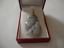 Burmese Jade Pendant Lavender set with 18 carat Yellow Gold
