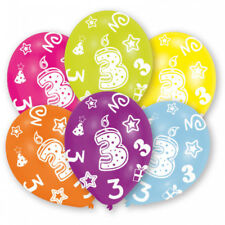 6 Luftballon Zahl 3 - Kindergeburtstag - 3. Geburtstag