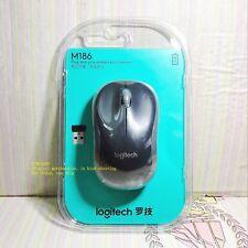 Original Logitech M186 USB Wireless Mouse with USB Nano Receiver (Gray)
