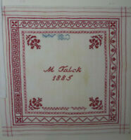 ANTIKES STICKMUSTERTUCH 1885 M. Talck Berlin Kreuzstich ca. 31 x 31 cm
