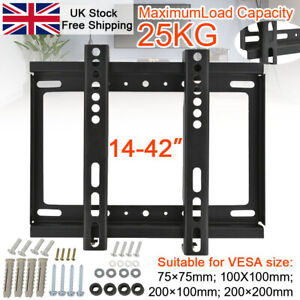 "New Tv Wall Mount Bracket Flat For 14 -42"" Inch Lcd Led Plasma Monitor Holder Uk"