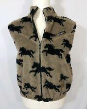 Kerrits On Course Womens Gray Black Fleece Horse Zippered Vest Size Medium Large