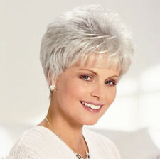 Women Lady Wig Short Straight Grey Synthetic High quality Hair Wigs+Wig Cap