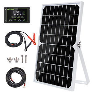 Topsolar 10W 12V Solar Panel Trickle Charger Battery Maintainer Kits + 10A PWM +