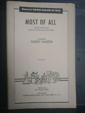 Most Of All Big Band Jazz Chart Arrangement Orchestration Sheet Music Disney Vg