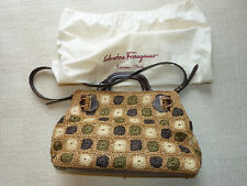 c7196d3c05 Salvatore Ferragamo NEW tote woven straw and leather gold gancini made in  Italy