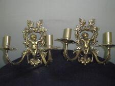 antique set of 4 brass cherub wall light sconces